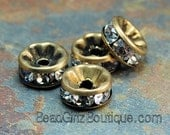 Brass Rhinestone Beads, Grade AAA, Antique Bronze Metal Color, Rondelle, Crystal, 8x3.8mm-10