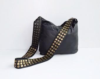 Black Leather Veronica Mars Bag - Plain Front & Back, Black Messenger bag, Black Cross Body Purse, Borse, Bourse, Cuir, Bolso Cuero, Tasche