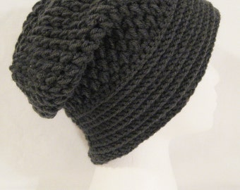 long slouch beanie soft and thick made to fit teen and adults dark grey