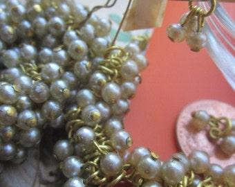 "35 Vintage Japanese Glass Pearl Drop ""Clusters"""