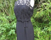 Vintage Black 1960s Wiggle Dress with Lace Top Bow Detail Sleeveless Sexy Classic Medium