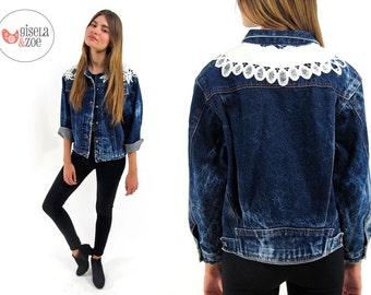 80s Acid Wash Denim Jacket ΔΔ Crochet Boho Jean Jacket Oversized Boyfriend Denim Jacket ΔΔ can fit • sm • md • lg