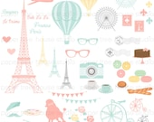 Clip Art Set - Paris France Vacation Travel Series - Eiffel Tower - Pastel Colors - 55 Printable Digital Files - JPG and PNG Format - ID 232