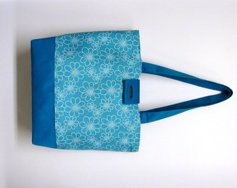 Turquoise Flower Fabric Tote Bag