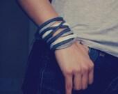 Skinny Wool Felt Bracelet Wristband Cuff ø Smoke ø LoftFullOfGoodies