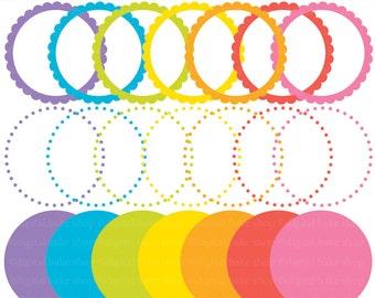 digital frames clipart scalloped circle clip art labels tags - Bright Digital Circle Frames