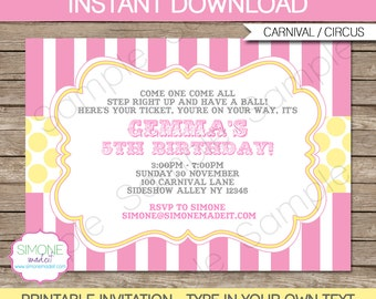 Pink Circus Invitation Template - Birthday Party - Carnival Party - Circus Party - INSTANT DOWNLOAD with EDITABLE text - you personalize
