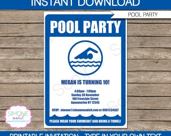 Pool Party Invitation Template - Birthday Party - INSTANT DOWNLOAD with EDITABLE text - you personalize at home