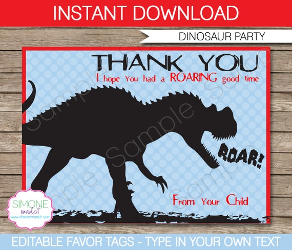 dinosaur favor tags thank you tags birthday party favors