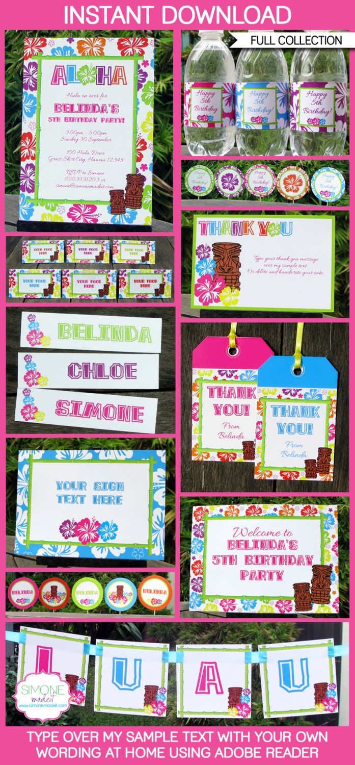 luau party invitations amp decorations full by simonemadeit