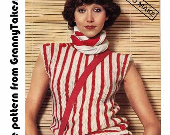 Striped Boxy Top 1970s/80s VINTAGE CROCHET PATTERN, Striped T Shirt, Retro Easy Beginner Pattern,  Instant Pdf from GrannyTakesATrip 0236