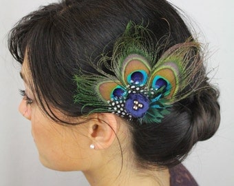 Peacock Hair Accessories - Peacock Feather Clip - Navy Boho Flower Feather Peacock Wedding