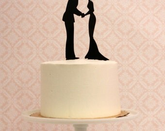Silhouette Wedding Cake Topper - Silhouette Cake Topper - Made to Order