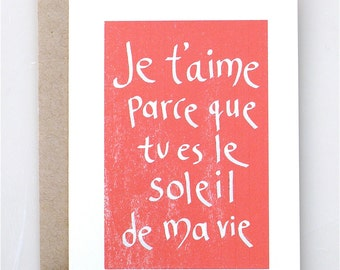 Je Tu0027aime Soleil   Valentineu0027s Day   Card   Handmade   Paper Goods