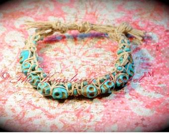 Turquoise Howlite Gemstone Skull Bracelet, hand woven