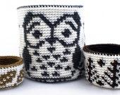 Crochet Pattern --Reversible Trio of Forest Baskets-- Crochet Pattern