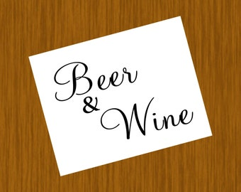 Instant Download - Set of 2 Beer & Wine Signs PDF Files 8x10 and 5x7 - You Print Yourself