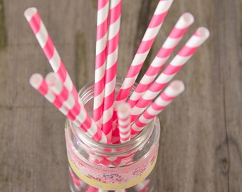 15 Cannucce a righe bianche e fucsia/violetto - 15 Hot Pink and White Striped Paper Straws