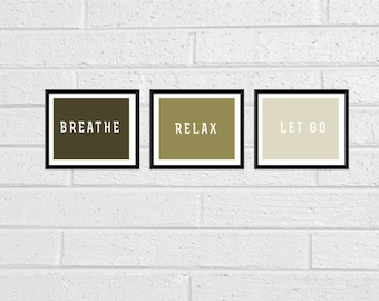 Yoga Meditation Set of Three Wall Quote Art Prints Decor 8x10 Printable Ombre Fall Colors Olive Green Breathe Relax Let Go In More Colors