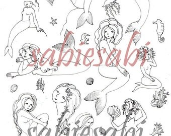 Digital Download Sheet -Mermaids-Print It Yourself -Transfer - Wall Decor - Crafts- JPG - Instant Download