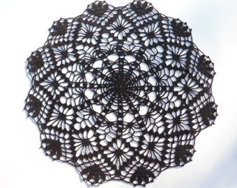 Black crochet doily / lace doily / round / 15 inches
