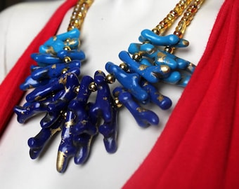 Blue Ombre Necklace / Statement Coral / Chunky Beads