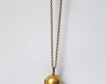 Brass Ball Locket Necklace, Locket Charm Necklace, Vintage Locket Necklace, Memory Necklace