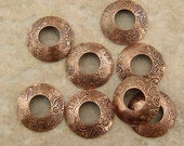 BHB Caps, Etched Copper Bead Caps, Flower Power, 2 pair (4 caps), 13mm with 5mm hole