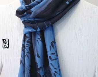 Large Mens Silk Scarf Hand painted, ETSY, Zen Bamboo Japanese Scarf. Blue Silk Scarf. Silk Crepe. Handmade in the USA. 14x72 in.
