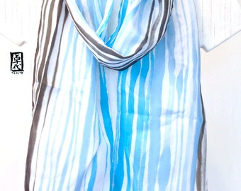 Silk Scarf Long Blue and Black, Hand Painted Blue Zen River Japanese Scarf, Blue Silk Scarf, Silk Scarves Takuyo. 8x72 inches.