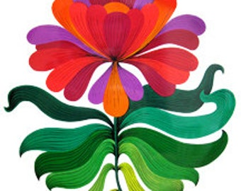 Flower Mid-Century Modern - Digital Image - Vintage Art Illustration Retro Design - Instant Download