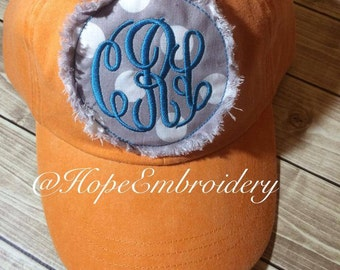 Personalized  Patch  Circle Applique with Initials Monogrammed initial ball cap Circle Monogram hat