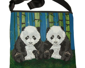 Panda Cubs Large Bucket Handbag, Large Cross Body Bag - From my Original Oil Painting,Empyrean Counterparts -Salvador Kitti