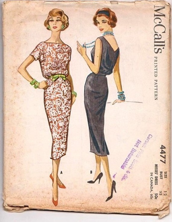 Vintage, Retro, McCall's, 1950s, Lace, Cocktail, Dress, Sewing Pattern