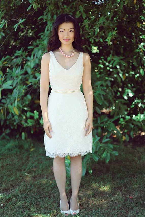 Short Lace Wedding Dress Classic VNeck With By PureMagnoliaCouture