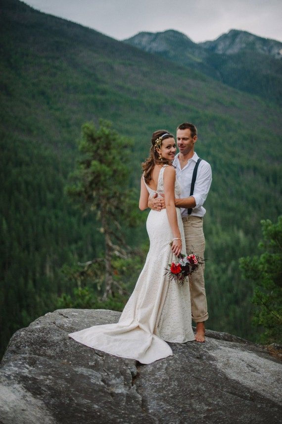Items similar to sample sale backless lace wedding dress for Low back wedding dresses for sale