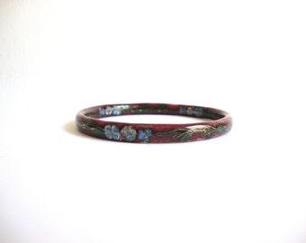 Vintage Cloisonne Floral Bangle: Maroon Night vintage floral enamel bangle bracelet