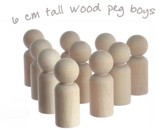 Ten 6cm peg doll boys / wooden people. Unfinished, unpainted wood blanks for decorations, Tomte, Waldorf, Montessori toys and crafts