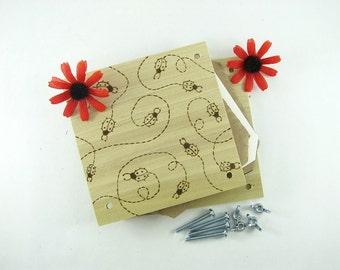 Flower Press - Wood Pyrography - Ladybug Design Plant Press