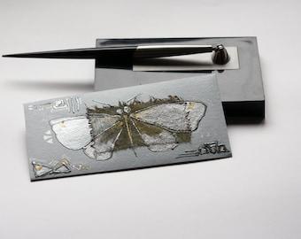 Money Gift Card Envelope - Silver butterfly - triangle, silver, gold, olive green, dusty blue, grey, sky blue, pastel- dark silver - OOAK