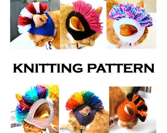 Mohawk Cat Hat Knitting Pattern - Instant Download - DIY Hand Knit Cat Costume