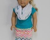 Three Piece Multicolored Chevron Maxi Skirt Outfit for American Girl or Other 18 Inch Dolls
