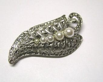 Vintage White Faux Pearl Silver tone Leaf Brooch