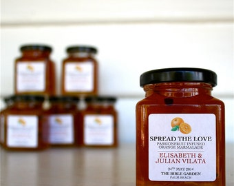 "No.5 - Wedding Marmalade Bomboniere / Favors ""Spread the Love"" Passionfruit Infused Orange Marmalade - Custom Labelled"
