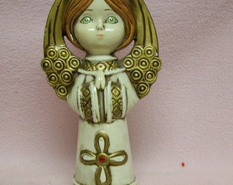 "Vintage Angel Figurine 8"" White & Gold Glossy Christmas Angel Figure Marked Japan"