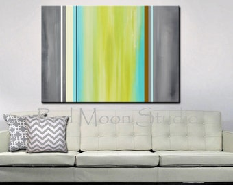 Gray Green Turquoise Abstract Painting, XLarge 48x36, Original Abstract Art