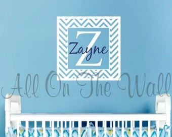 Chevron Wall Decal Baby Boy Monogram Decal Baby Girl Nursery Name Wall Decal Vinyl Wall Lettering Kids Chevron Nursery Decor Pattern