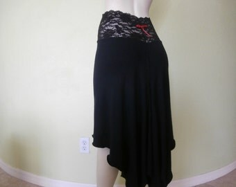 Argentine Tango  & Salsa asymmetric Skirt Size 0 to 10 with high Waist stretchy Lace  Dancewear Gothic Burlesque