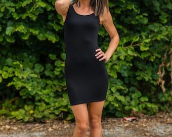 LITTLE BLACK DRESS Open Back Dress Sexy Tight Stretchy Mini Party Dress Thin Straps Little Black dress Plain Black lbd