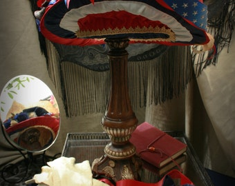 Women's Victorian wide brim Hat red white and blue : The Patriot Act